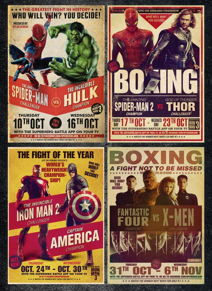 Boxing cartoon poster - super heroes.