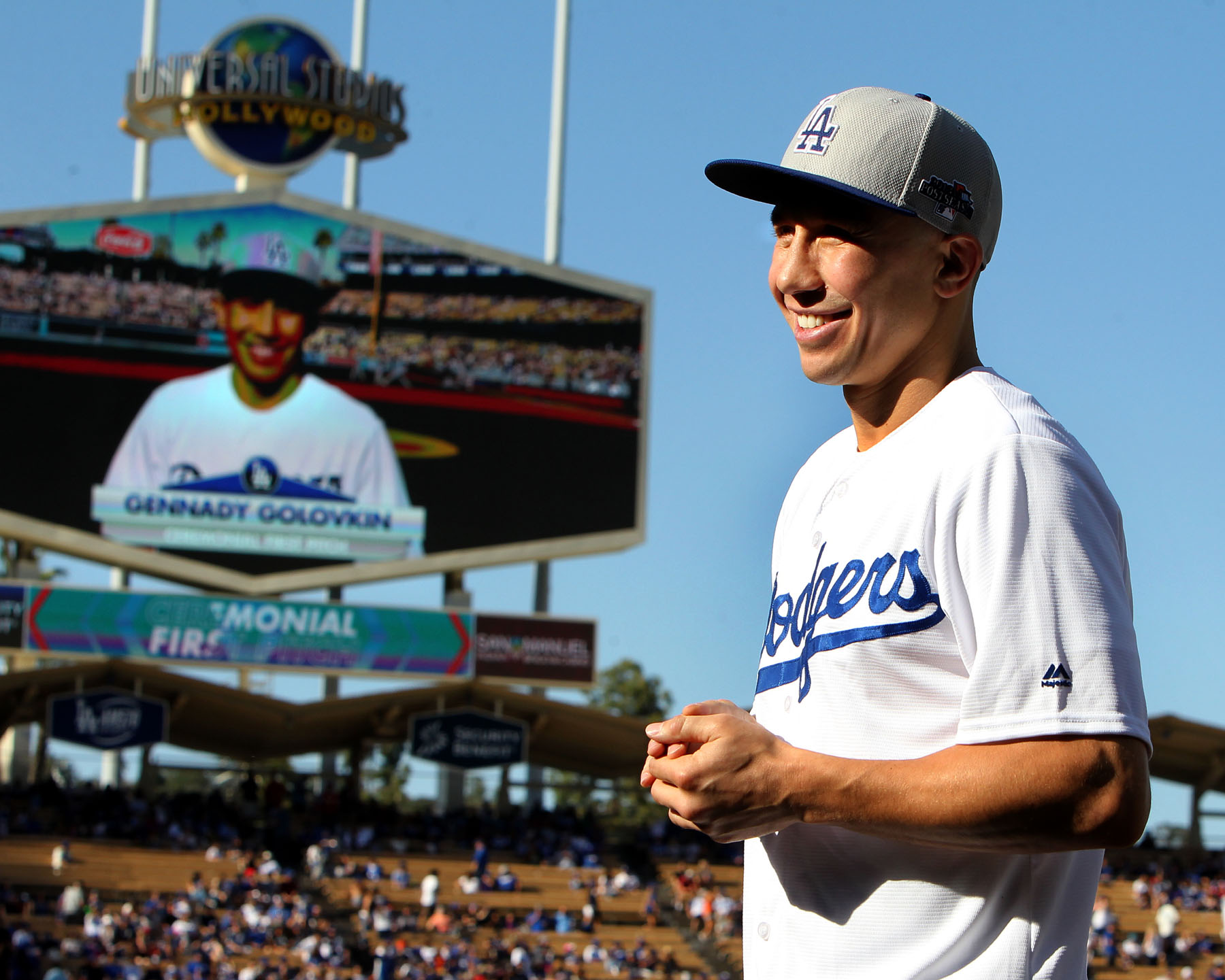 """April 17, 2016 , Los Angeles,Ca. --- Boxing Superstar and Unified World Middleweight Champion Gennady """"GGG"""" Golovkin, 34-0 (31KO's) throws out the first pitch during the Los Angeles Dodgers-San Francisco baseball game Sunday in Los Angeles,California. Golovkin will take on undefeated mandatory challenger Dominic """"Lights Out"""" Wade, 18-0 (12KO's) , Saturday, April 23 from the Fabulous Forum. This championship battle will be televised Live on HBO World Championship Boxing®beginning at 10:00 p.m. ET/PT. Golovkin vs. Wade is promoted by K2 Promotions, GGGPromotions and in association with TGBPromotions. --- Photo Credit : Chris Farina - K2 Promotions copyright 2016 ===== SOCIAL MEDIA: For moreinformation, visit www.K2Promos.com, www.GGGBoxing.com, www.TGBPromotions.com, www.FabulousForum.com and www.HBO.com/boxing. Follow on Twitter at Gennady Golovkin @GGGBoxing,Dominic Wade @_DomoWade, Roman Gonzalez @chocolatitobox, TomLoeffler/K2 Promotions @TomLoeffler1, TGBPromotions @TGBpromotions, the Forum @theForum and HBO Boxing @HBOBoxingand become a fan on Facebook www.facebook.com/GGGBoxing, www.facebook.com/TheForum and www.facebook.com/HBOBoxing. Use the hashtags #GolovkinWade and #GomzalezArroyoto join the conversations on social media."""