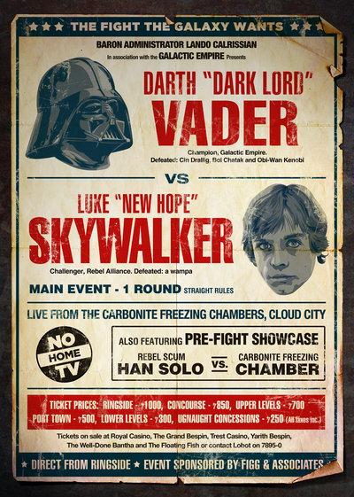 boxing cartoon poster - Darth Vader vs. Luke Skywalker.