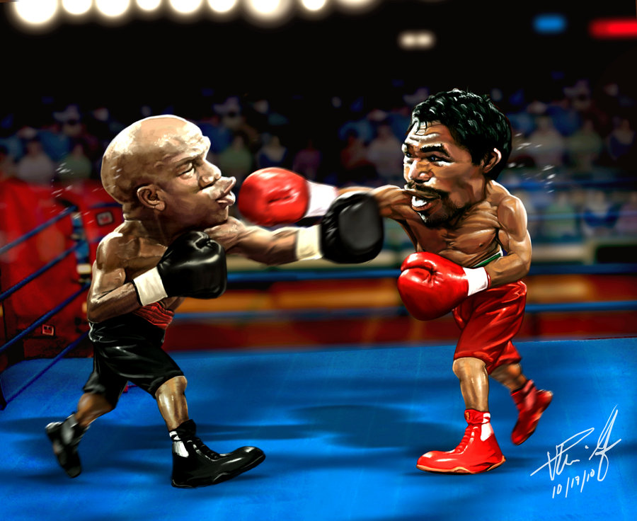 boxing cartoon poster Mayweather fighting Pacquiao.