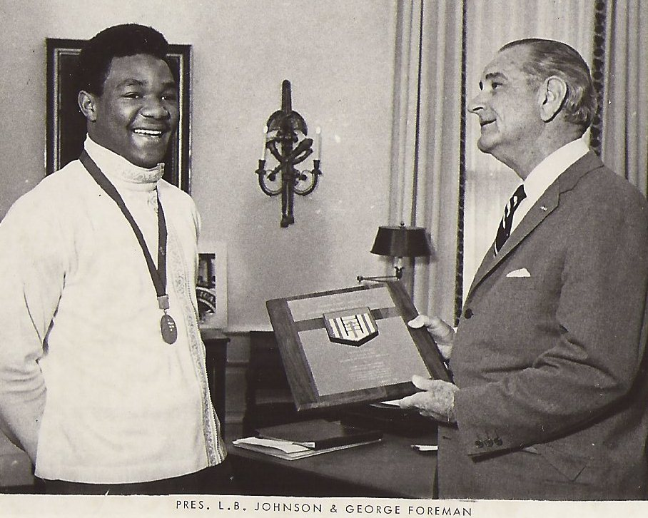 George Foreman meets President Lyndon Johnson after winning 1968 Gold Medal.