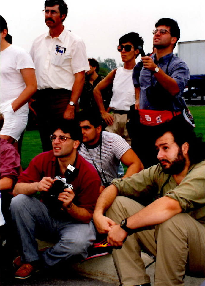 Alex Rinaldi (L with camera) and John Rinaldi (R) cover the Innaugeral Induction of the International Boxing Hall of Fame in 1990.