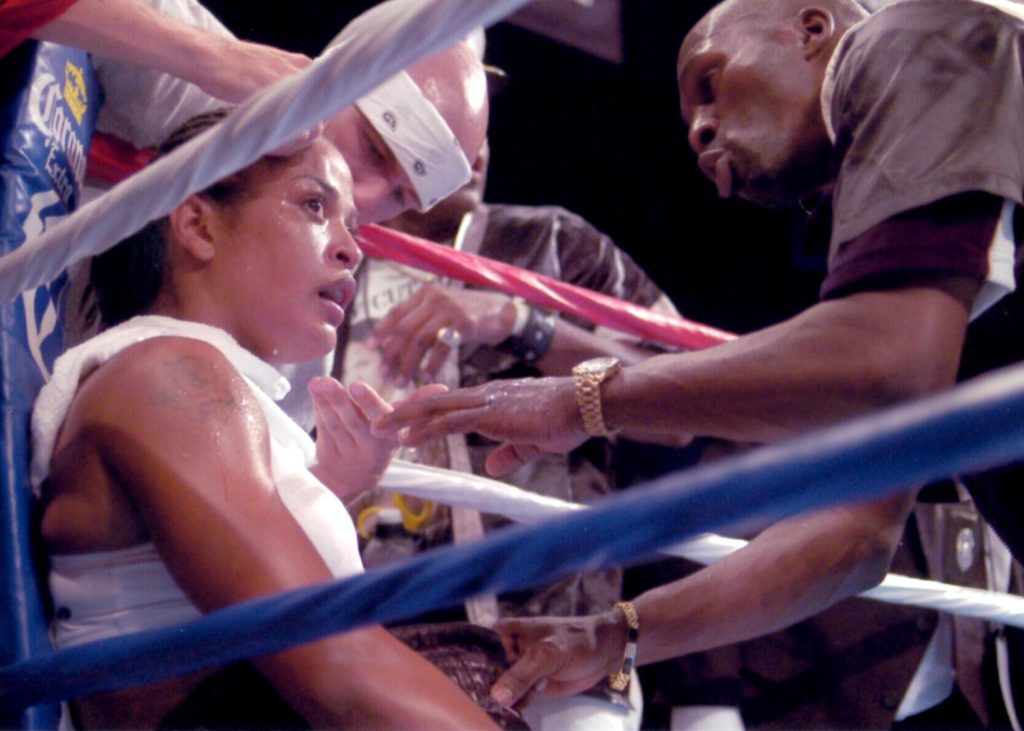 Laila Ali on August 23, 2003 in her bout with Christy Martin. Ali won by KO 4.