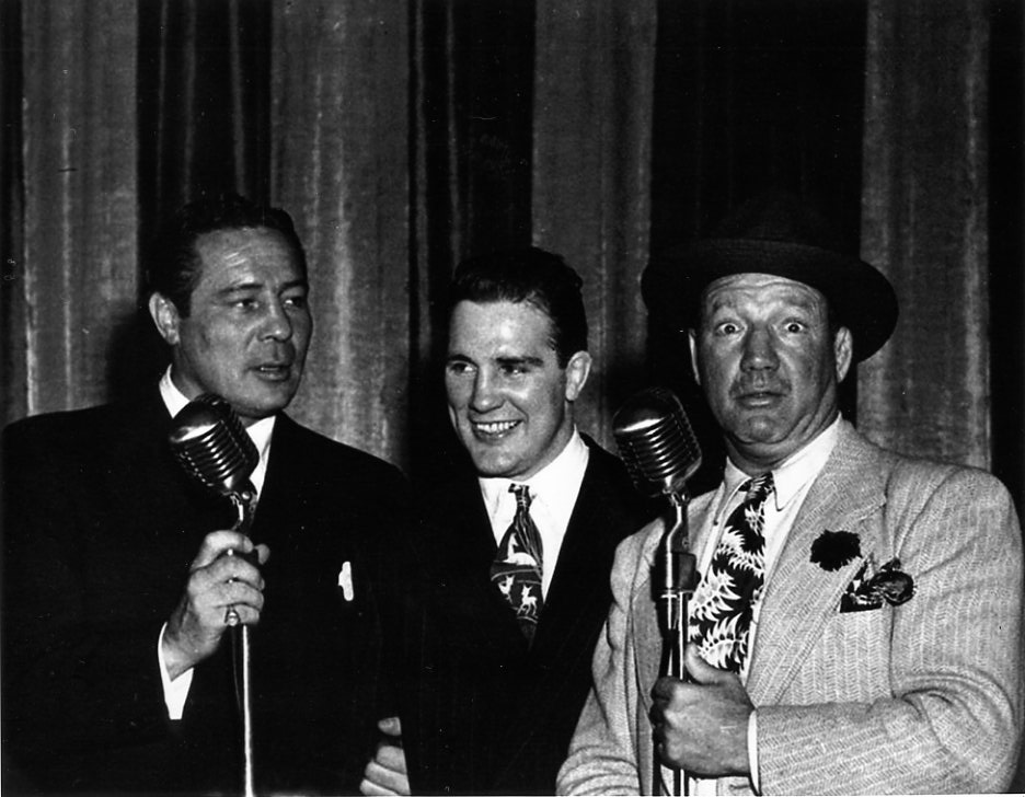 Max Baer, Billy Conn and Maxie Rosenbloom on radio show.