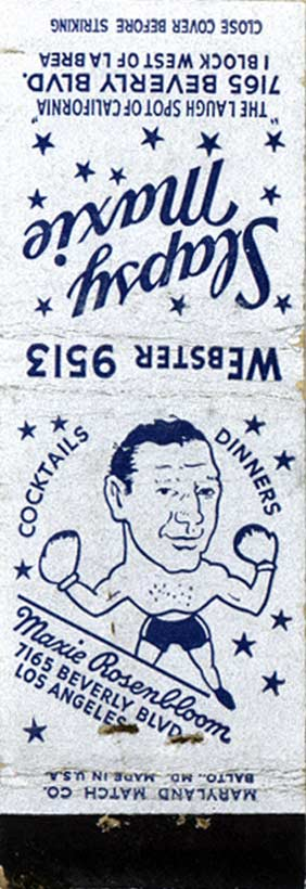 Maxie Rosenbloom matchbook.