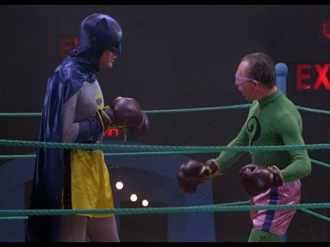 Batman vs. The Riddler Boxing Color Photo.