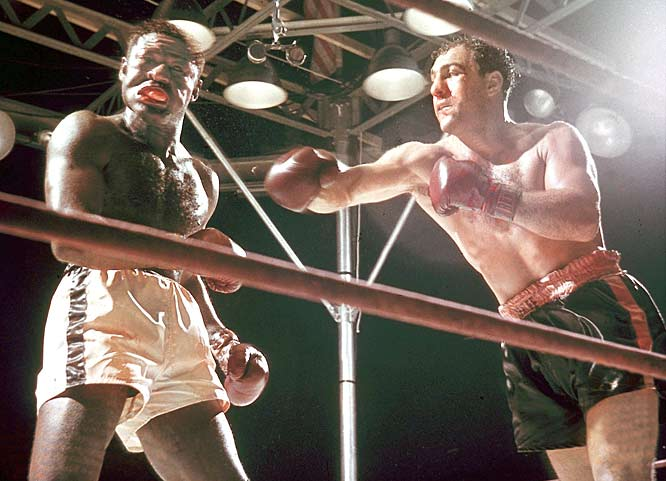 Boxing: Heavyweight Champion Rocky Marciano in action vs Ezzard Charles. Bronx, NY 06/17/54 Credit: Mark Kauffman SetNumber: X1401 TK1