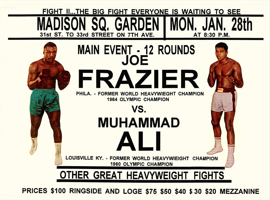 Ali vs. Frazier II 1974 Fight Poster.
