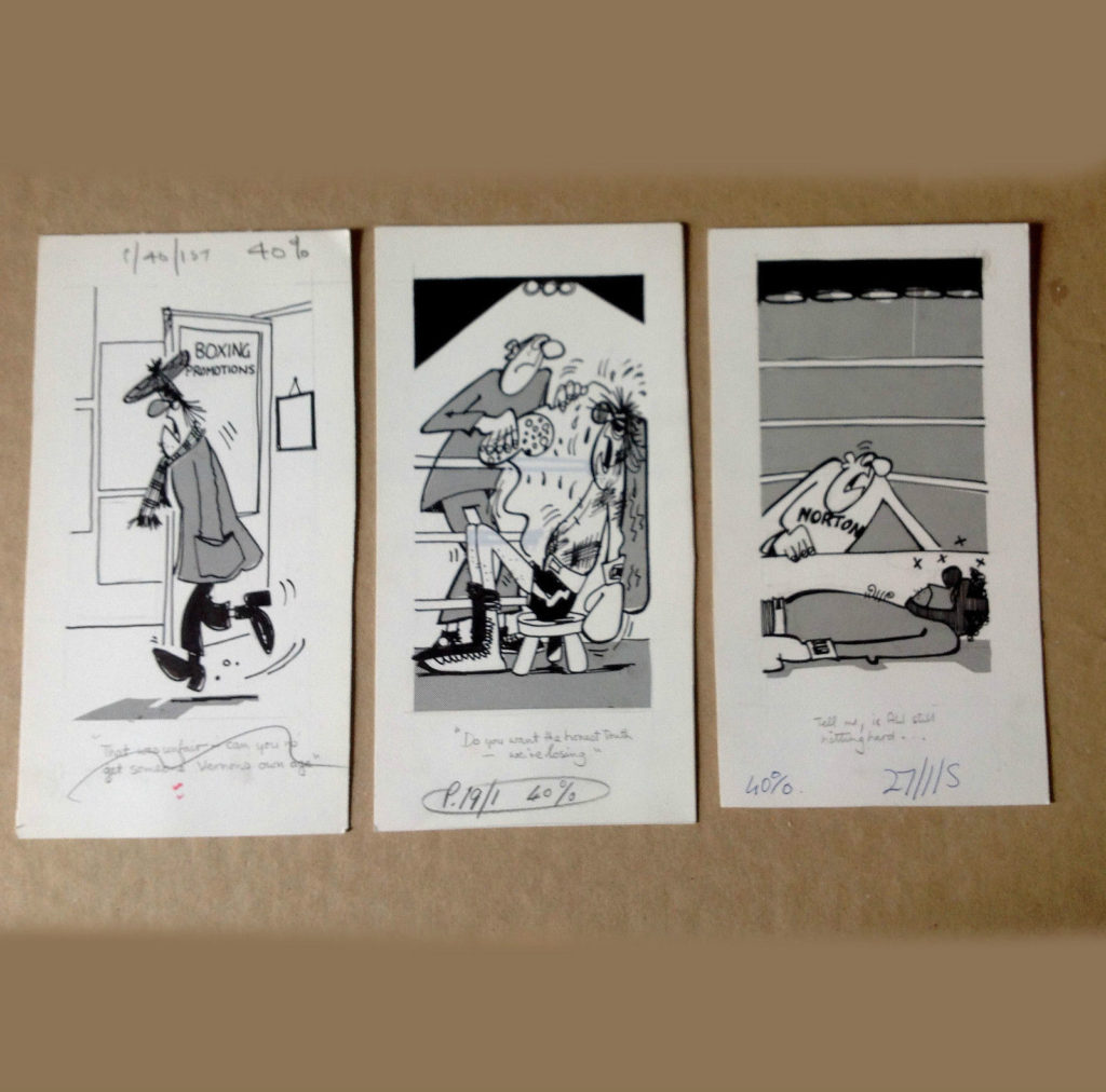 Boxing Cartoon - 3 panels.