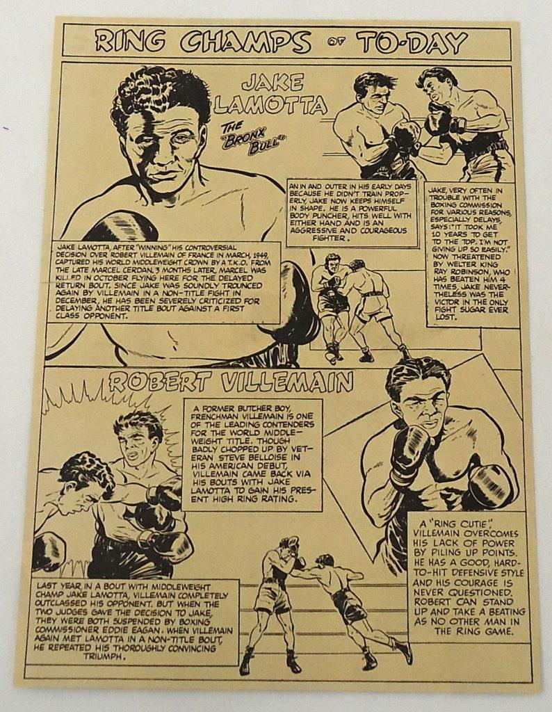 Boxing Cartoon - Jake LaMotta vs. Robert Villemain 1950.