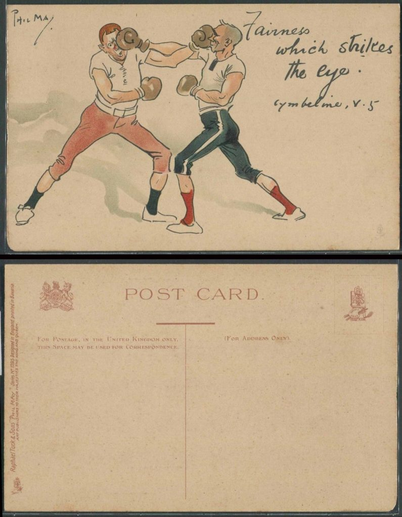 Boxing Cartoon - vintage post card.