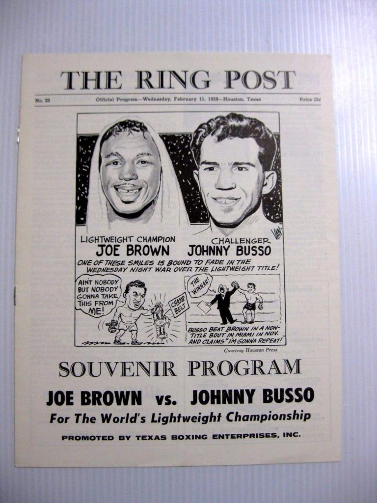 Puglistic program Joe Brown Vs. Johnny Busso
