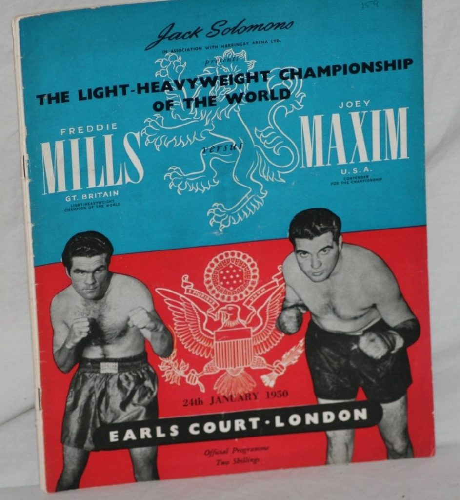 Puglistic program Joey Maxim vs. Freddie Mills.