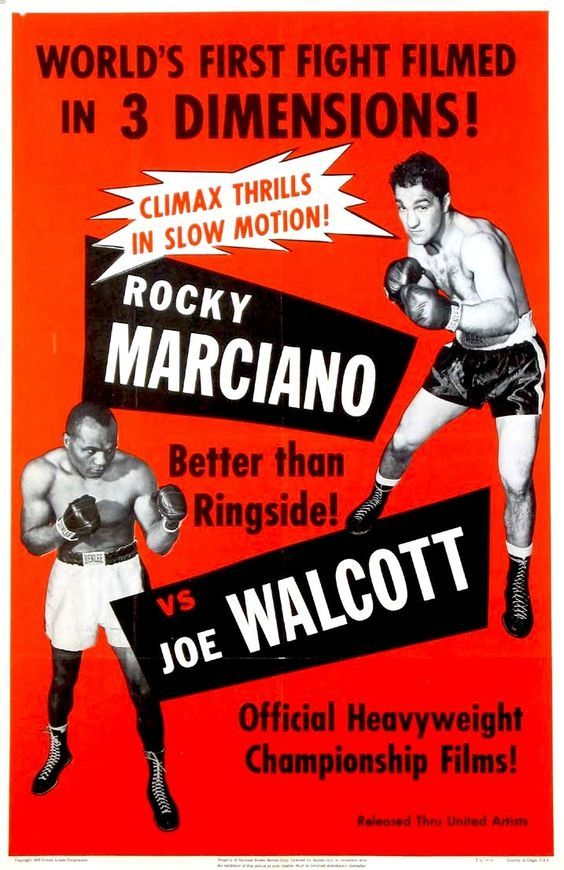 Rocky Marciano vs. Jersey Joe Walcott II Fight Poster of the fight shown at the Massac Theater.