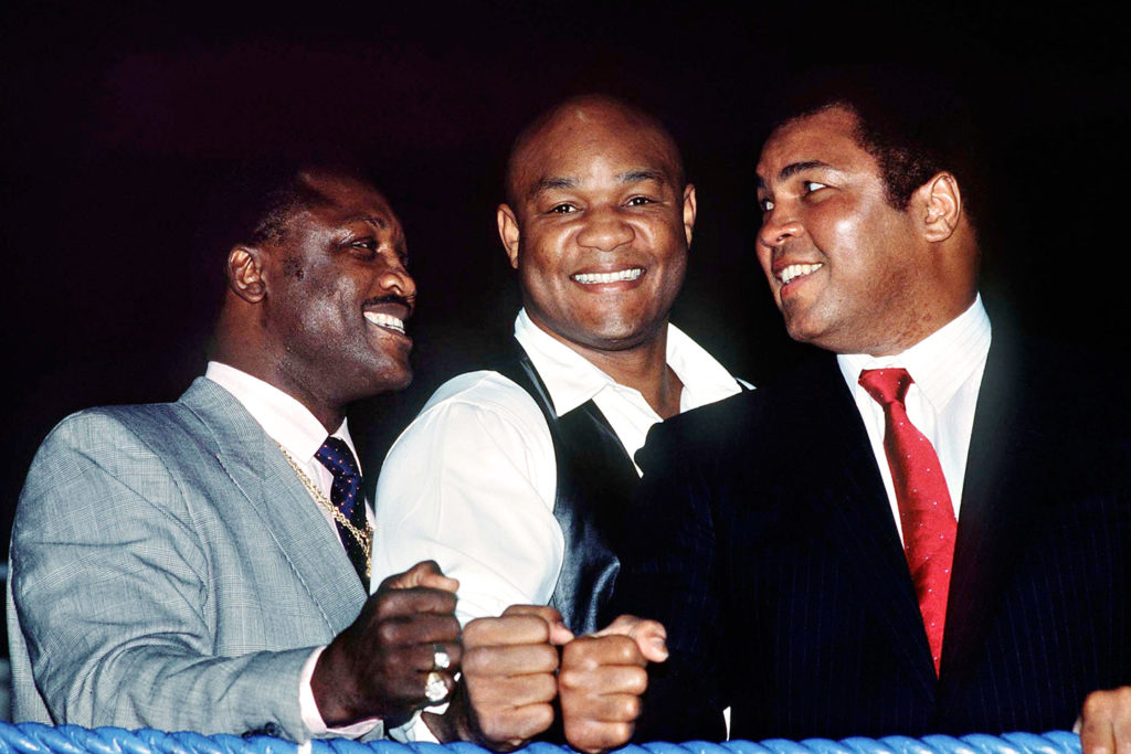 Joe Frazier, George foreman and Muhammad Ali