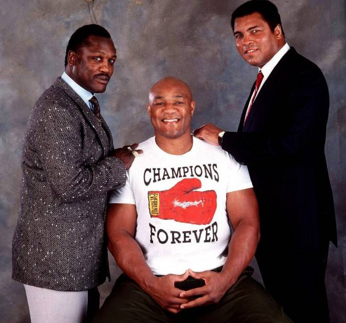 Joe Frazier, George Foreman and Muhammad Ali.