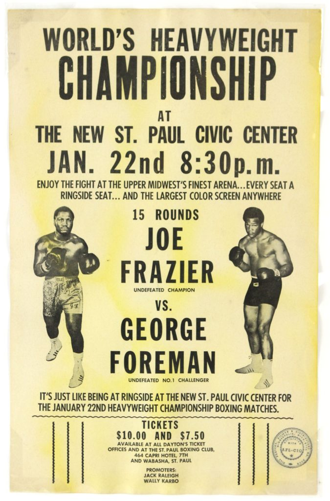AUGUST2016Joe Frazier vs. George Foreman closed circuit fight poster.