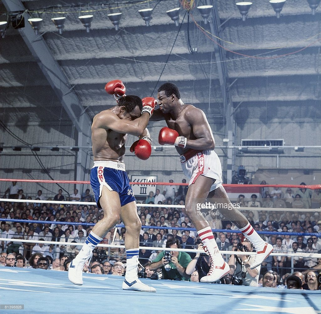 Larry Holmes vs. Ken Norton right hand in their 1978 classic heavyweight championship fight.