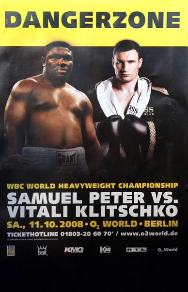Vitali Klitschko vs. Samuel Peter fight poster.