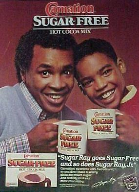 Boxing Ad 1985 Sugar Ray Leonard Carnation Hot Chocolate.