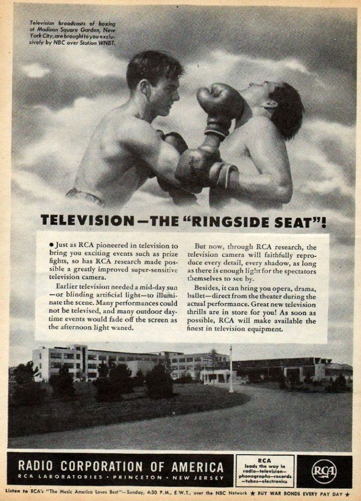 Boxing Ad - This is a 1944 Vintage magazine advertisement for Radio Corporation of America.