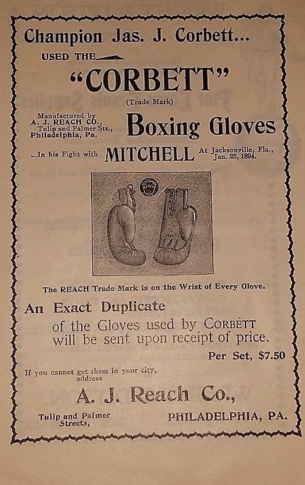 James J. Corbett Boxing Gloves Ad