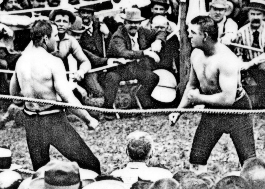 John L. Sullivan vs. Jake Kilrain bare knuckle battle.