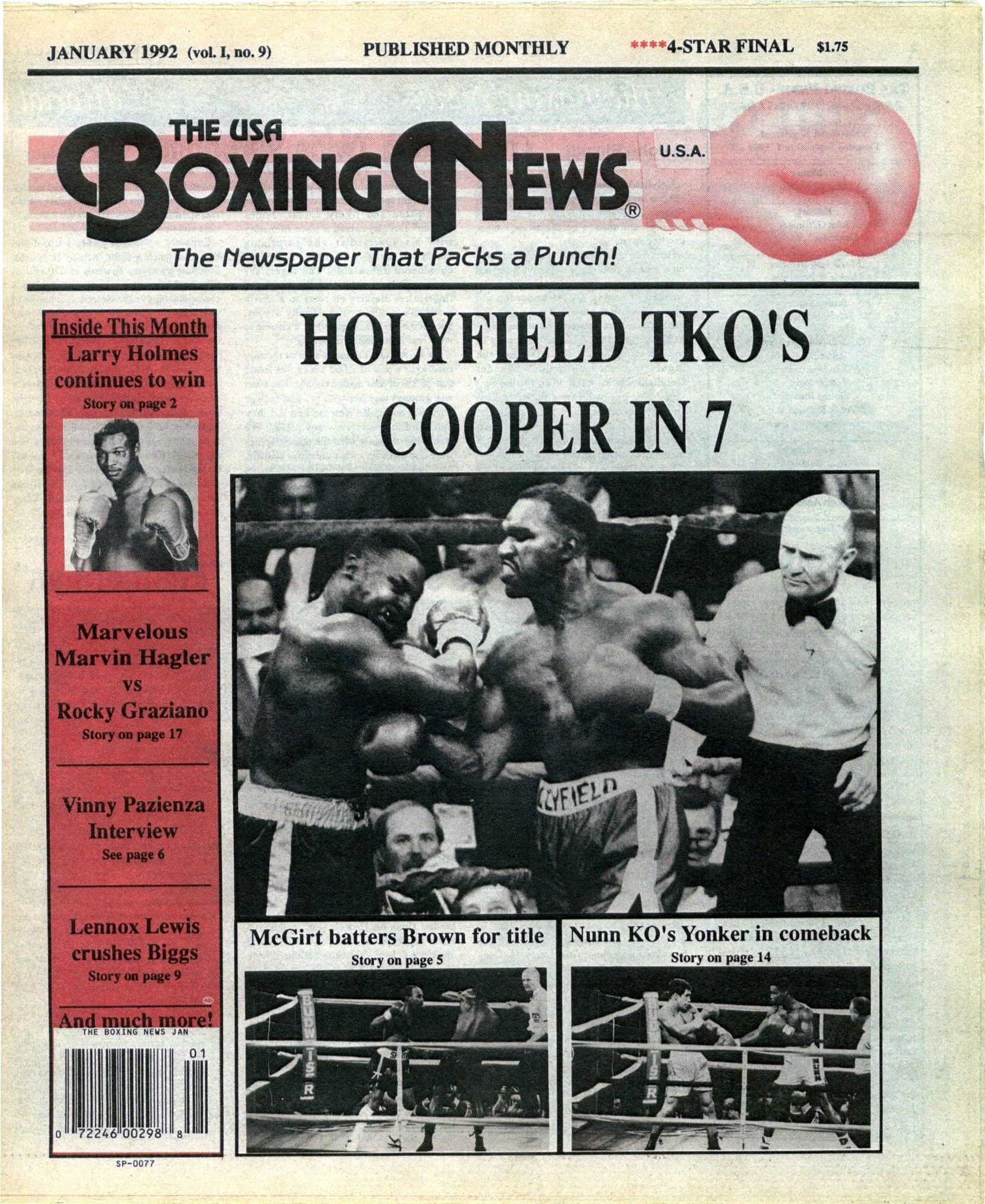 llllllllboxing-news-january-1992-cover