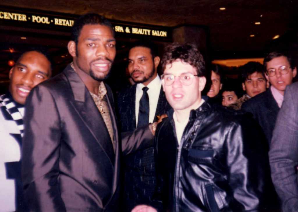 "USA Boxing News Editor Alex Rinaldi with three-division champion Iran ""The Blade"" Barkley in 1989. (PHOTO BY JOHN RINALDI)"