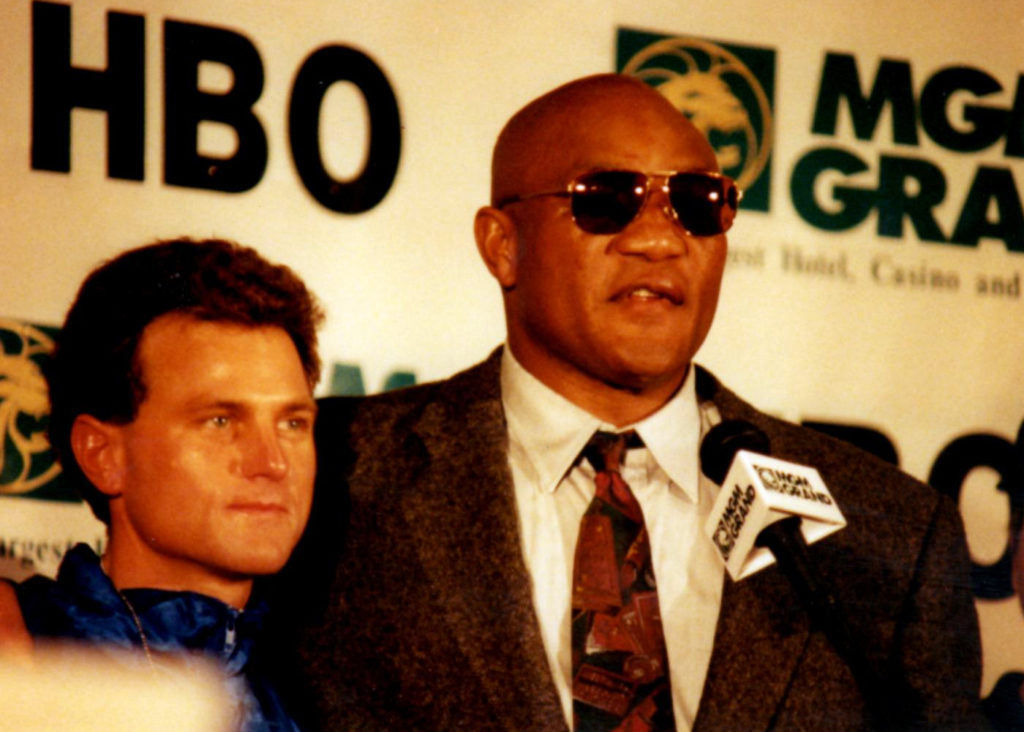 George Foreman at the MGM Grand in Las Vegas in 1994 after knocking out Michael Moorer to capture the world heavyweight championhip