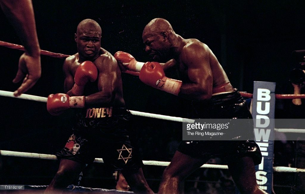 "Iran Barkley going on the attack against James ""Lights Out"" Toney"