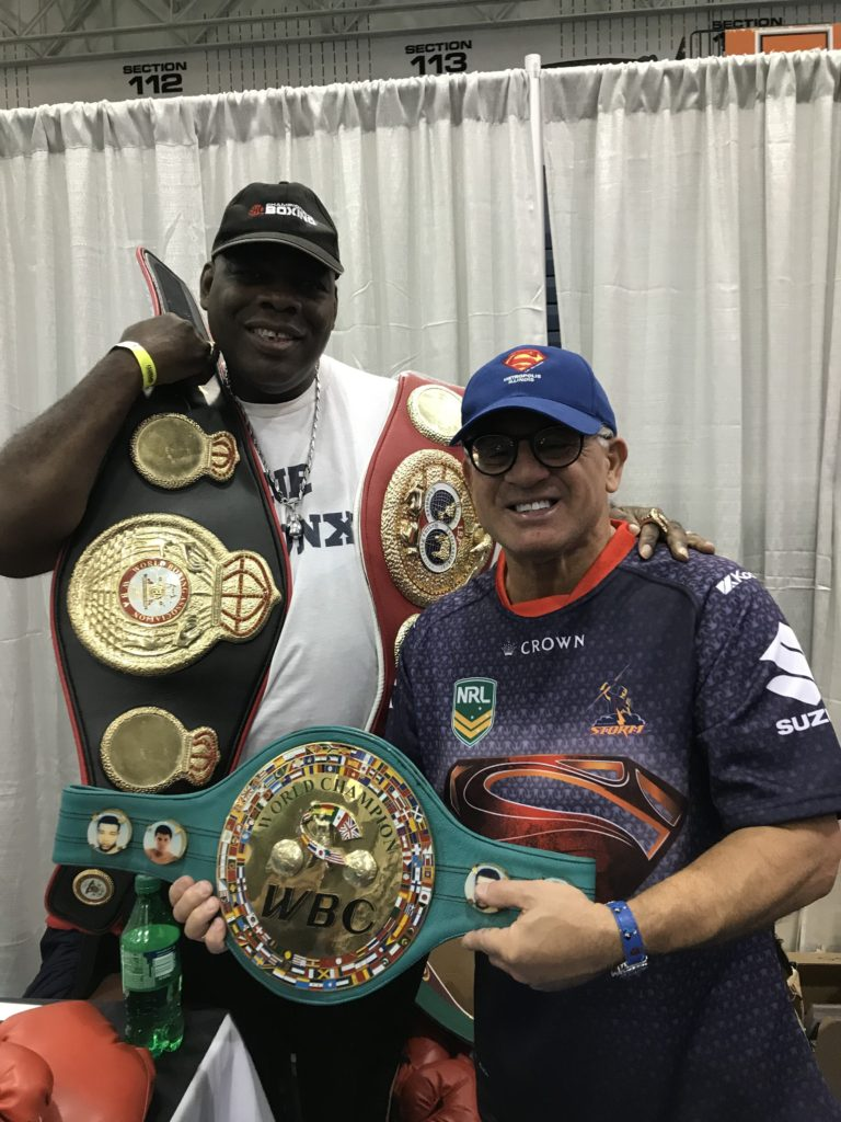 The USA Boxing News Editor-Publisher John Rinaldi with former triple champion Iran Barkley.