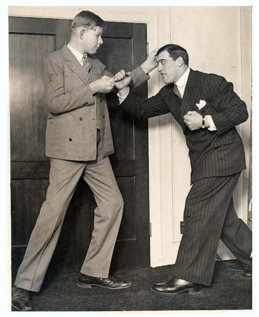 Two real life giants - 12 year old Robert Wadlow with Primo Carnera_ (CLICK ON PHOTO TO SEE PRIMO FIGHTING SCHAAF)