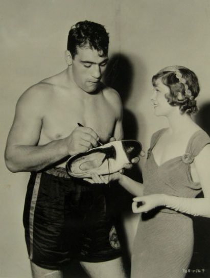 Primo Carnera and actress Myrna Loy.