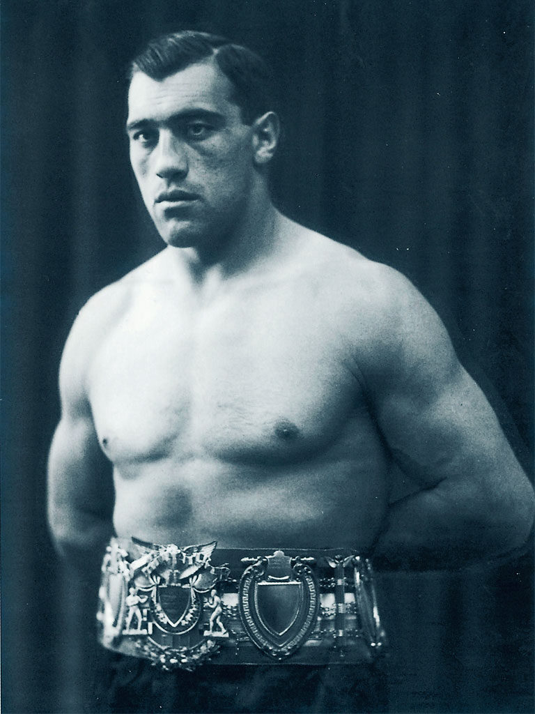 Primo Carnera wearing his EBU Heavyweight Title Belt.