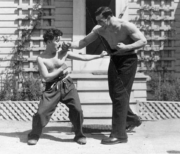 Charlie Chaplin and Primo Carnera