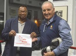 Once bitter rivals - now best of friends, Larry Holmes and Gerry Cooney  at Gerry Cooney's Boxing Academy