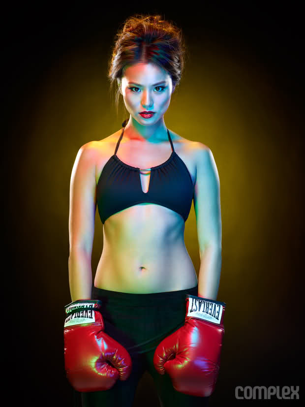 Jamie Chung boxing pose with gloves.