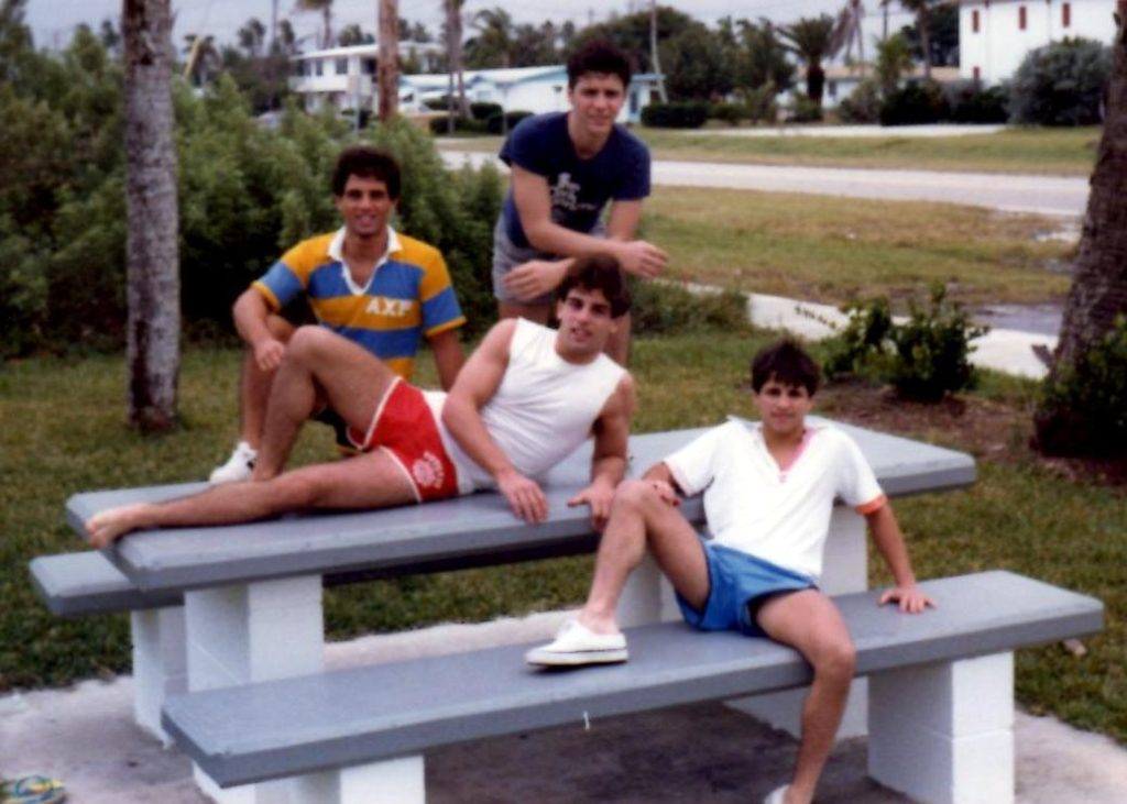Future Boxing Hall of Famers John, Alex, and Gerard Rinaldi relaxing near their house in Stuart, Florida in 1980.