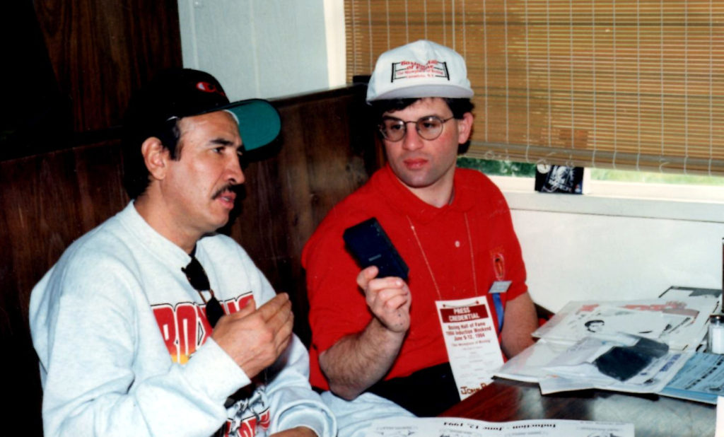 John Rinaldi (R) interviewing the great Bantamweight Champion Carlos Zarate (L).