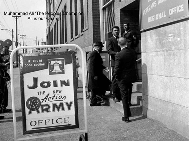Muhammad Ali at the Army draft office.