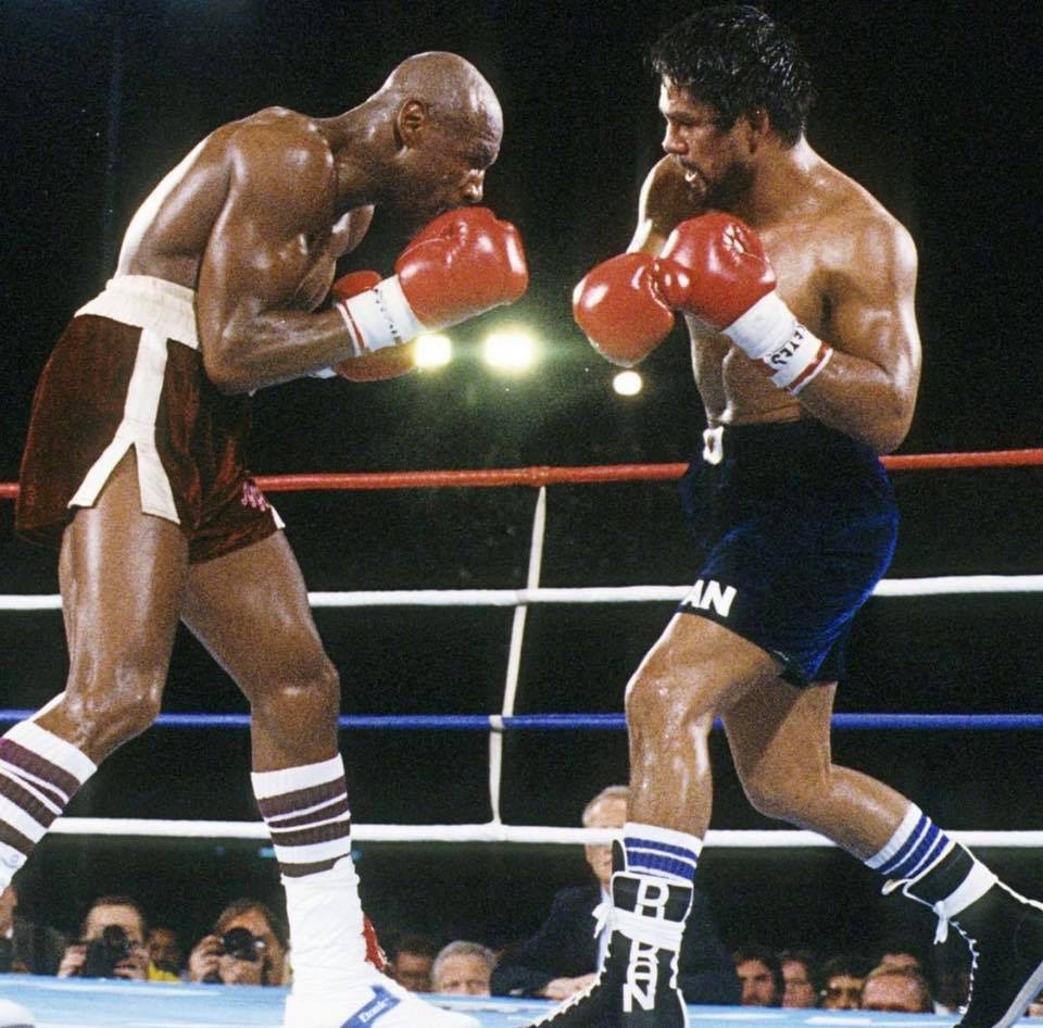 Marvelous Marvin Hagler L) has his hands full with the power and punching of Roberto Duran in their 1983 fight for the undisputed middleweight championship of the world that Hagler won on a disputed decision.