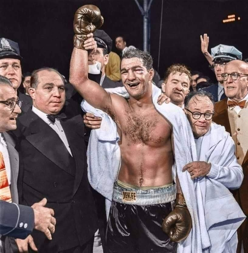 Rocky Marciano winning the heavyweight Championship of the World