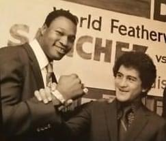 Heavyweight Champion Larry Holmes with Featherweight Champion Salvador Sanchez at Madison Square Garden in 1982.
