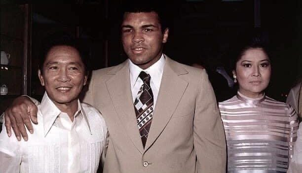 Muhammad Ali with Philippines President Marcus and his wife Imelda in 1975