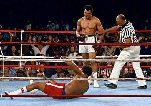 Muhammad Ali knocking out George Foreman in 1974.