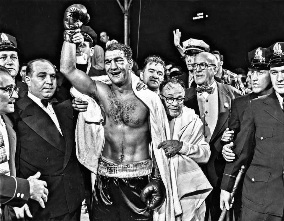 Rocky Marciano after defeating Jersey Joe Walcott in 1952 for the Heavyweight Championship of the World.