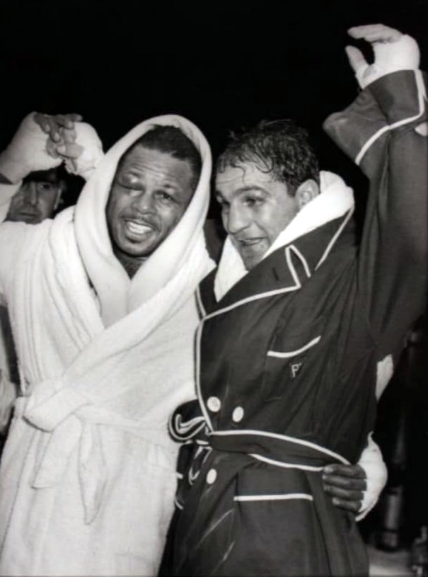 Rocky Marciano and Archie Moore after their 1955 fig