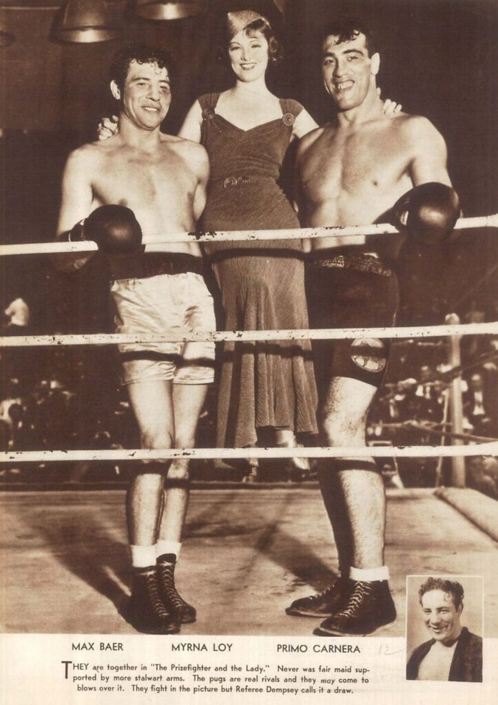 Max Baer and Primo Carnera with actress Myrna Loy