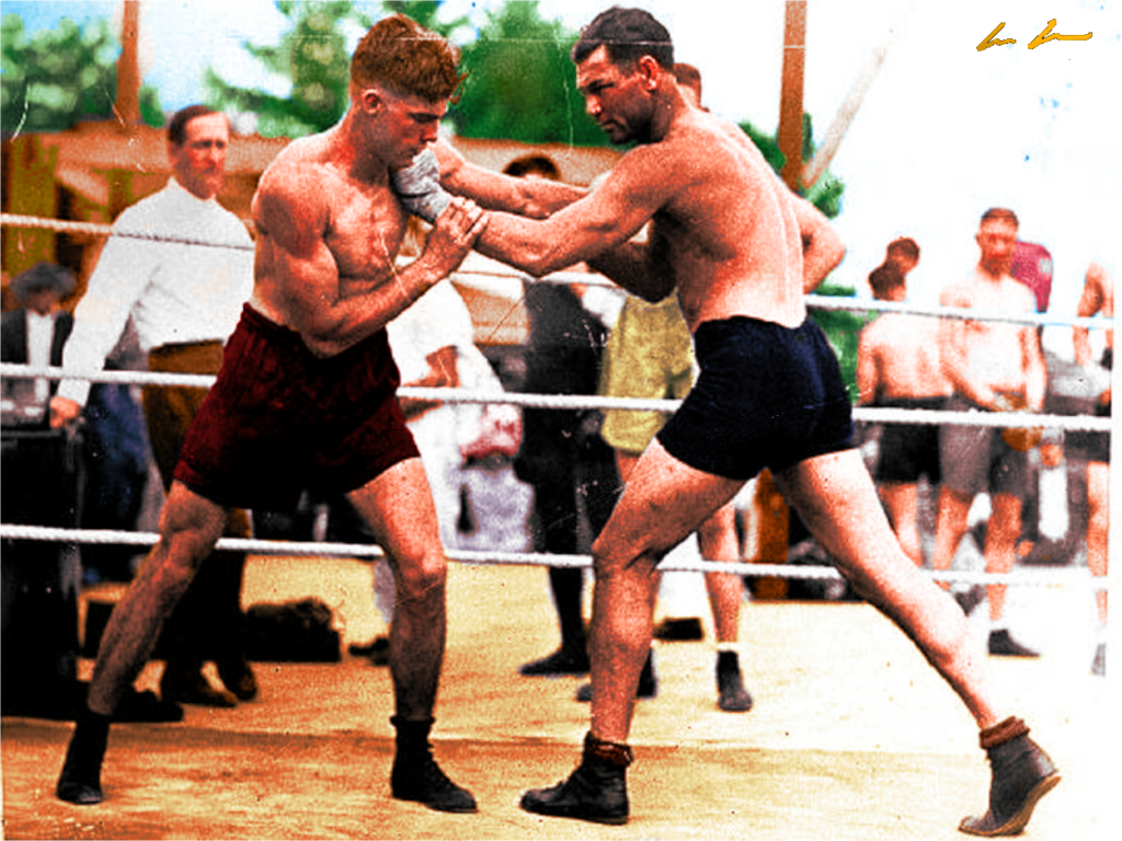 Jack Dempsey (R) in training